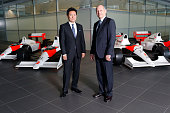 In this handout photo provided by McLarenHonda Ron Dennis Chairman Chief Executive Officer McLaren and Yasuhisa Arai Senior Managing Officer Honda RD...