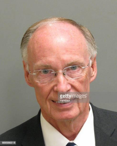 In this handout photo provided by Montgomery County Sheriff's Office Alabama Governor Robert Bentley appears in a booking photo after pleading guilty...