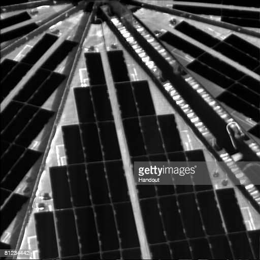 In this handout photo provided by NASA the Phoenix Mars Lander's solar arrays are seen after a successful landing on May 25 2008 in the northern...