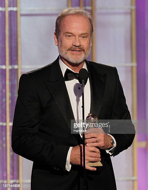In this handout photo provided by NBC actor Kelsey Grammer accepts the award for Best Actor TV Series Drama 'Boss' onstage during the 69th Annual...