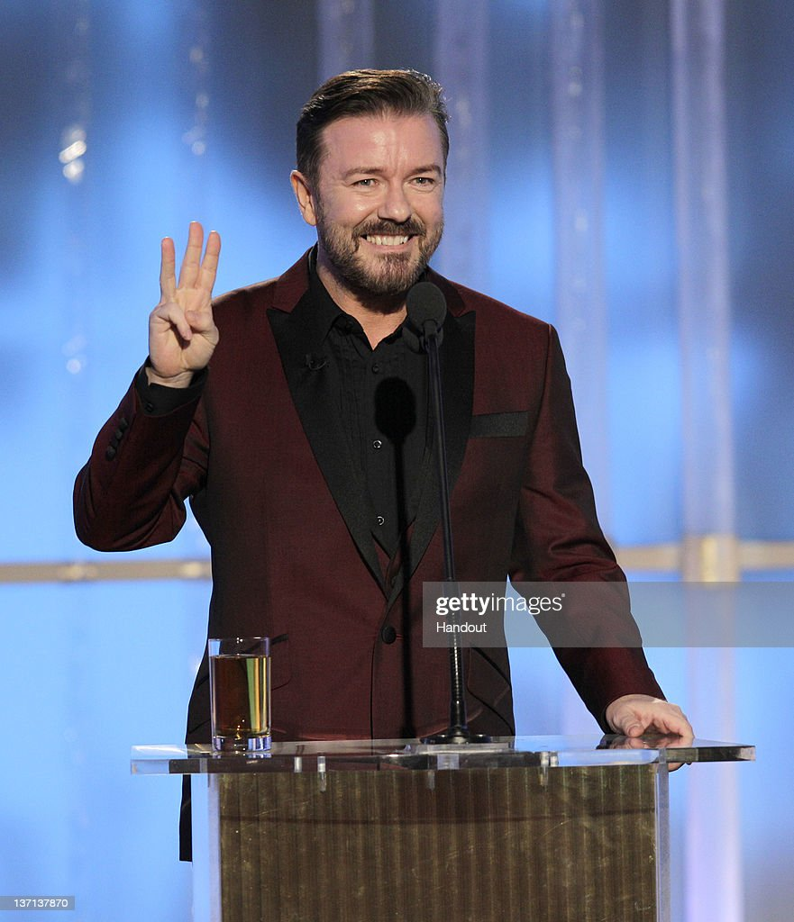 In this handout photo provided by NBC host Ricky Gervais onstage during the 69th Annual Golden Globe Awards at the Beverly Hilton International...