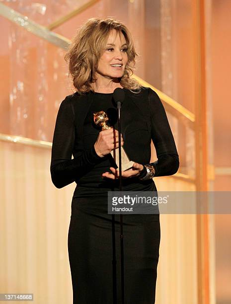In this handout photo provided by NBC Jessica Lange accepts the award for Best Supporting Actress Series/MiniSeries/TV Movie onstage during the 69th...