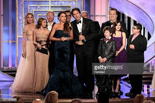 In this handout photo provided by NBC Julie Bowen Sarah Hyland Jesse Tyler Ferguson Sofía Vergara Ty Burrell creator/producer Steven Levitan Ed...