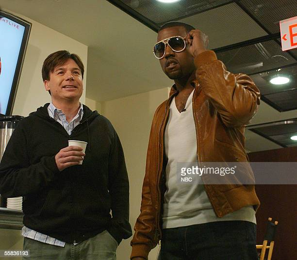In this handout photo provided by NBC studios Mike Myers makes a surprise appearance reuniting with his Katrina Telethon partner Kanye West who went...