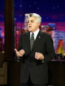 In this handout photo provided by NBC talk show host Jay Leno talks about the late Johhny Carson during a taping of 'The Tonight Show' on January 25...