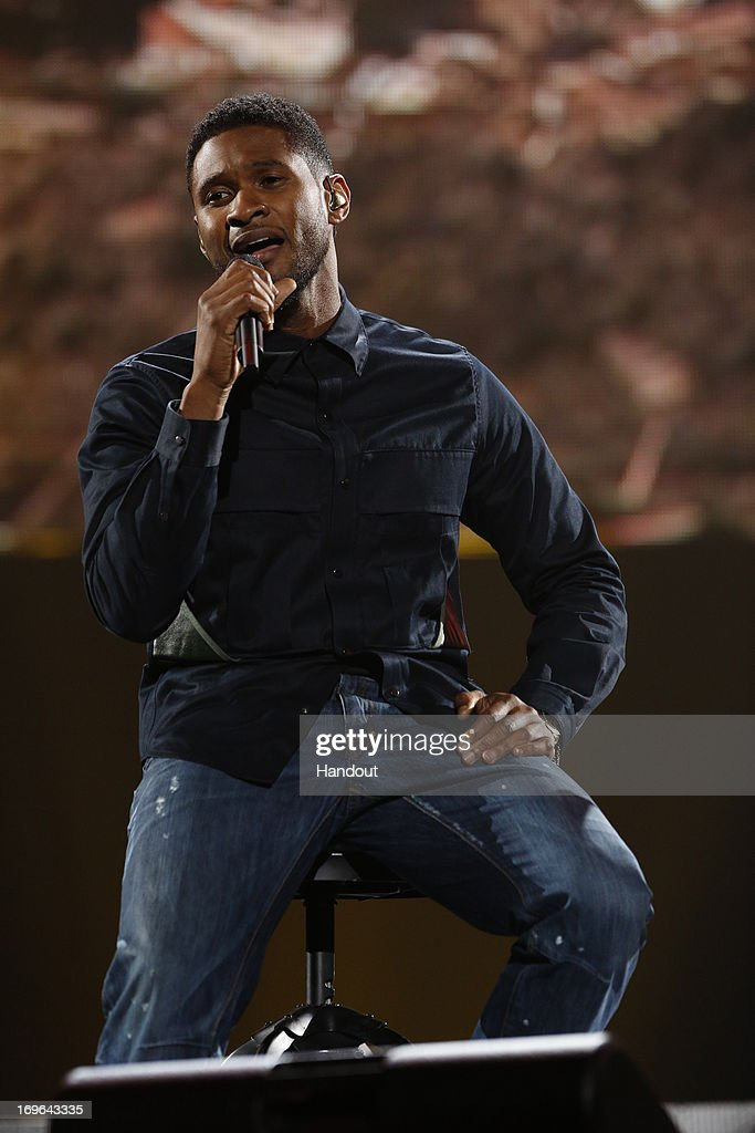 In this handout photo provided by NBC, Usher performs during the Healing in the Heartland: Relief Benefit Concert held at the Chesapeake Arena on May 29, 2013 in Oklahoma City, Oklahoma.