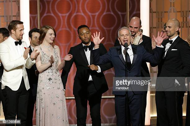 In this handout photo provided by NBCUniversal actors Ryan Gosling Emma Stone and John Legend and producers Marc Platt Jordan Horowitz and Fred...