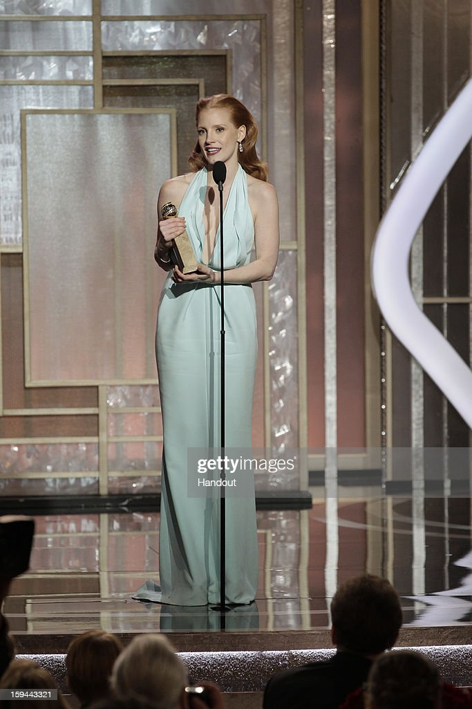 In this handout photo provided by NBCUniversal, Actress Jessica Chastain accepts the Best Actress award for Motion Picture, Drama, 'Zero Dark Thirty' on stage during the 70th Annual Golden Globe Awards at the Beverly Hilton Hotel International Ballroom on January 13, 2013 in Beverly Hills, California.