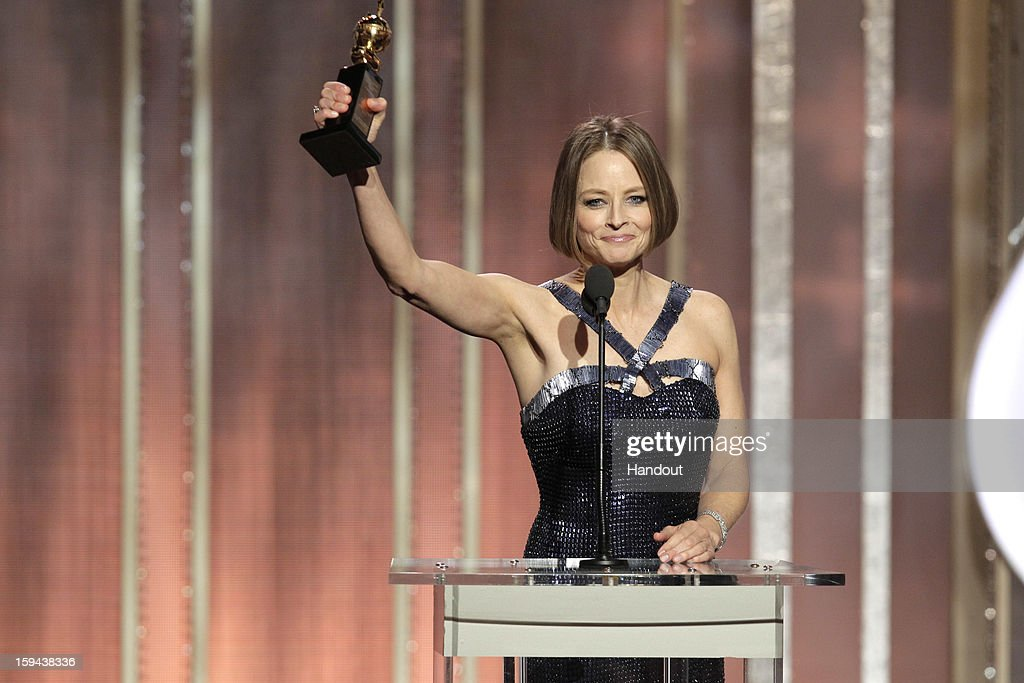 In this handout photo provided by NBCUniversal, Actress Jodie Foster receives the Cecil B. Demille Award on stage during the 70th Annual Golden Globe Awards at the Beverly Hilton Hotel International Ballroom on January 13, 2013 in Beverly Hills, California.