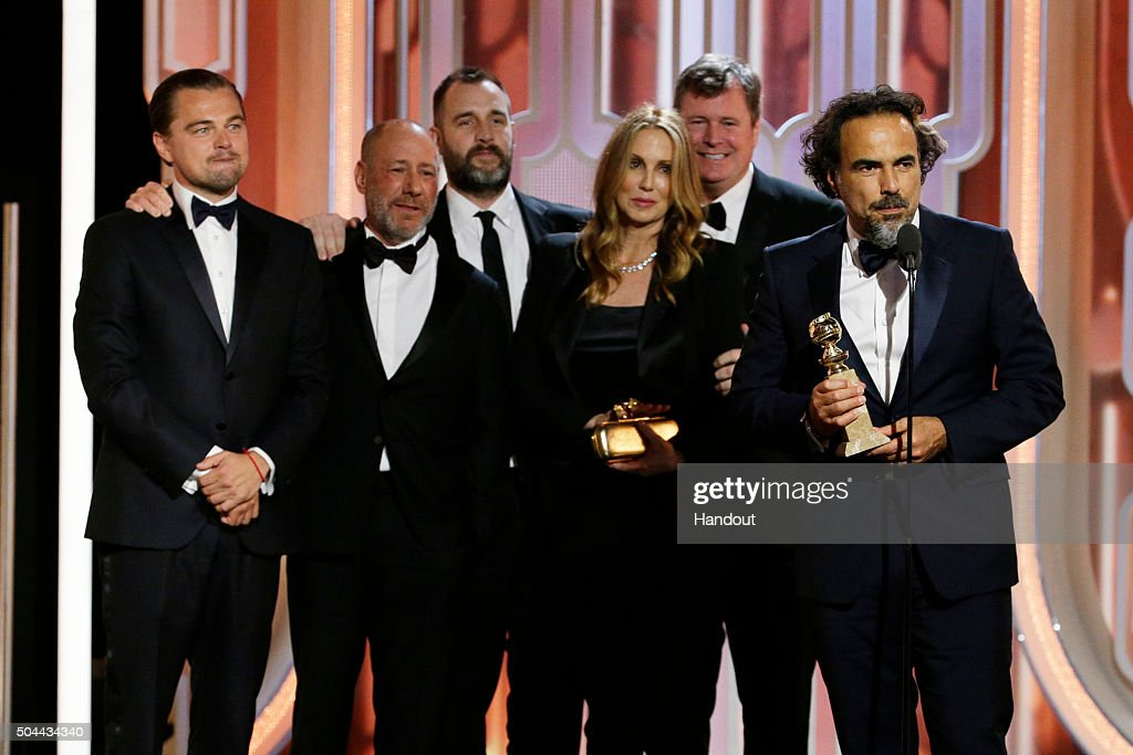 In this handout photo provided by NBCUniversal, Alejandro G. Inarritu accepts the award for Best Motion Picture, Drama for 'The Revenant' during the 73rd Annual Golden Globe Awards at The Beverly Hilton Hotel on January 10, 2016 in Beverly Hills, California.