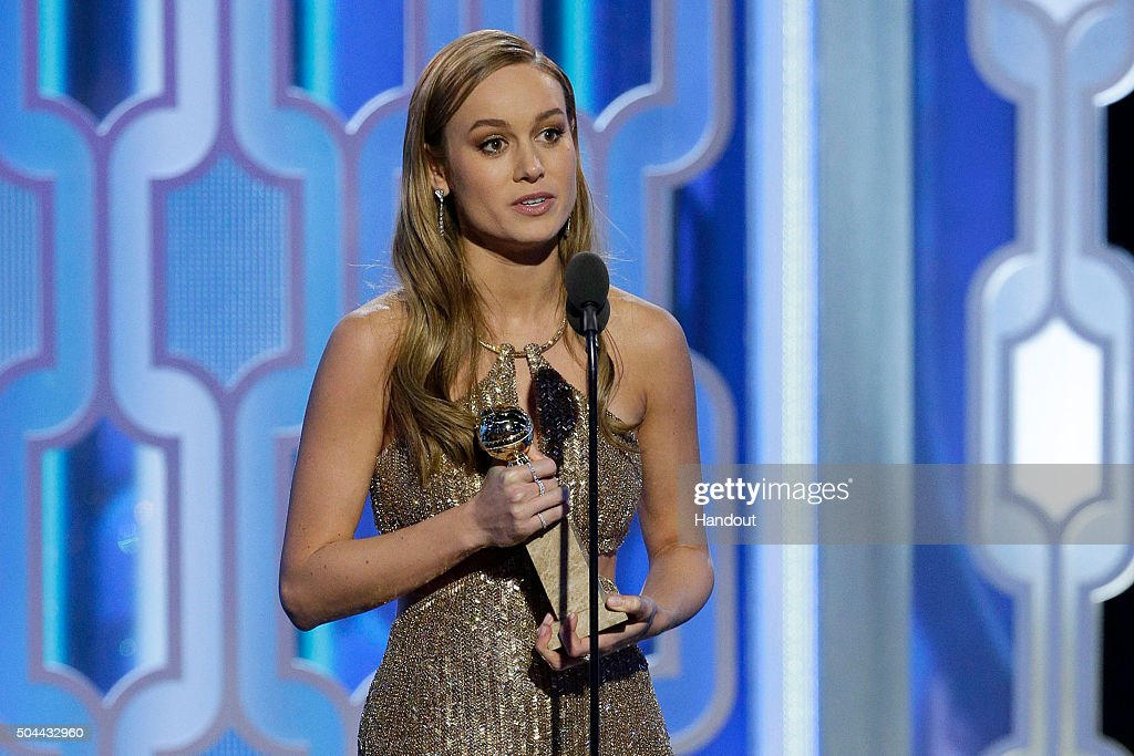 In this handout photo provided by NBCUniversal, Brie Larson accepts the award for Best Actress - Motion Picture, Drama for 'Room' during the 73rd Annual Golden Globe Awards at The Beverly Hilton Hotel on January 10, 2016 in Beverly Hills, California.