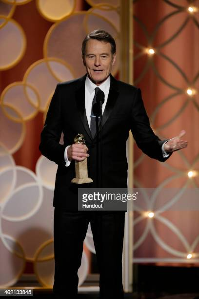 In this handout photo provided by NBCUniversal Bryan Cranston accepts the award for Best Actor in a TV Series Drama for 'Breaking Bad' during the...