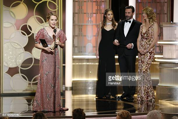 In this handout photo provided by NBCUniversal Claire Foy accepts the award for Best Actress in a TV Series Drama for her role in 'The Crown' at the...