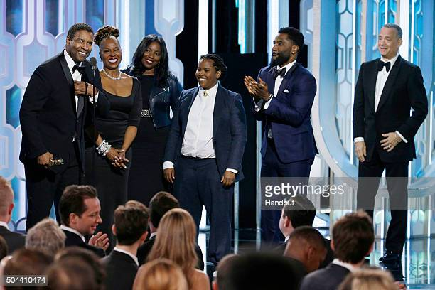 In this handout photo provided by NBCUniversal Denzel Washington accepts with Cecil B Demille Award with his family during the 73rd Annual Golden...