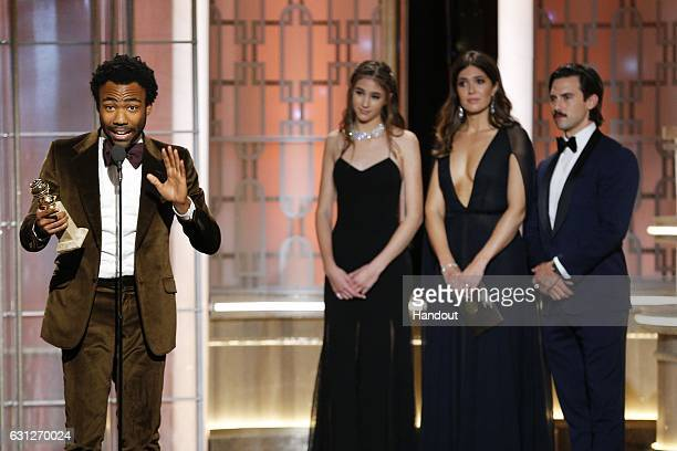 In this handout photo provided by NBCUniversal Donald Glover accepts the award for Best Actor in a Television Series Musical or Comedy for his role...