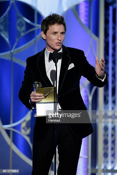 In this handout photo provided by NBCUniversal Eddie Redmayne Winner of the Best Actor Motion Picture for 'The Theory of Everything' speaks onstage...