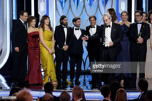In this handout photo provided by NBCUniversal Executive producer Paul Weitz accepts the award for Best TV Series Comedy for 'Mozart in the Jungle'...
