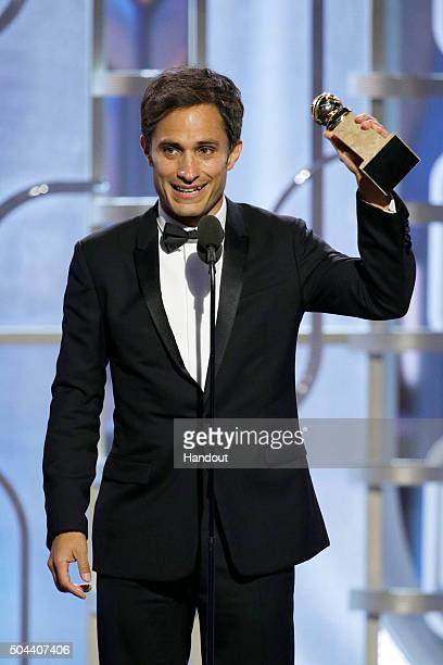 In this handout photo provided by NBCUniversal Gael Garcia Bernal accepts the award for Best Actor TV Series Comedy for 'Mozart in the Jungle' during...