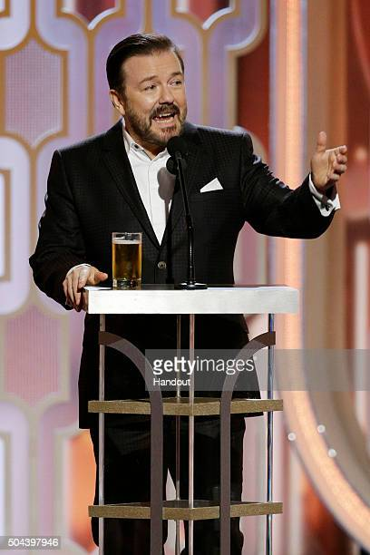 In this handout photo provided by NBCUniversal Host Ricky Gervais speaks onstage during the 73rd Annual Golden Globe Awards at The Beverly Hilton...
