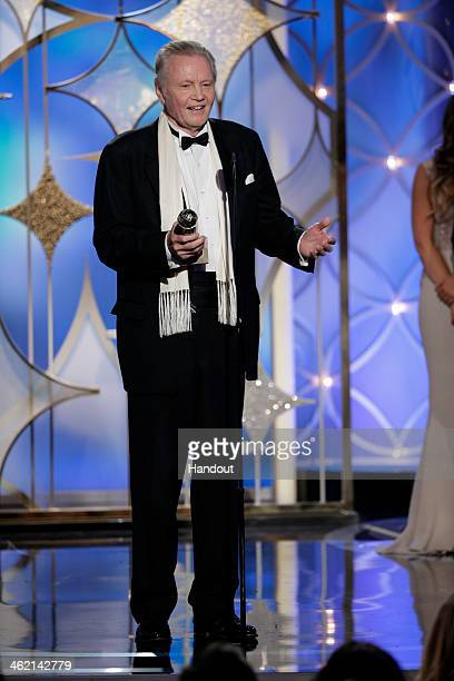 In this handout photo provided by NBCUniversal Jon Voight accepts the award for Best Supporting Actor in a Series MiniSeries or TV Movie for 'Ray...