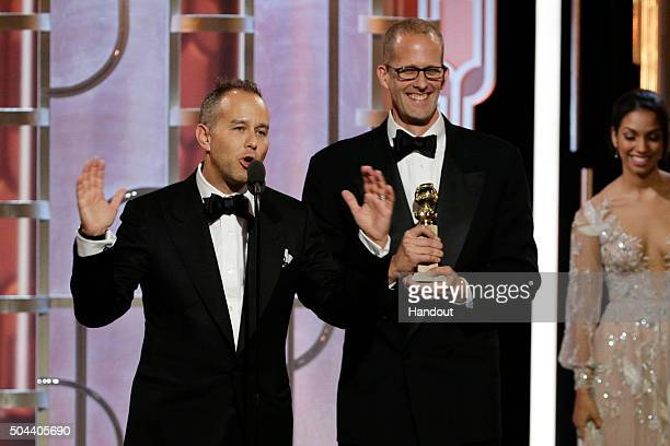 In this handout photo provided by NBCUniversal Jonas Rivera and Pete Docter accept the award for Best Motion Picture Animated for 'Inside Out' during...