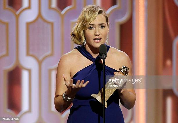 In this handout photo provided by NBCUniversal Kate Winslet accepts the award for Best Supporting Actress Motion Picture for 'Steve Jobs' during the...