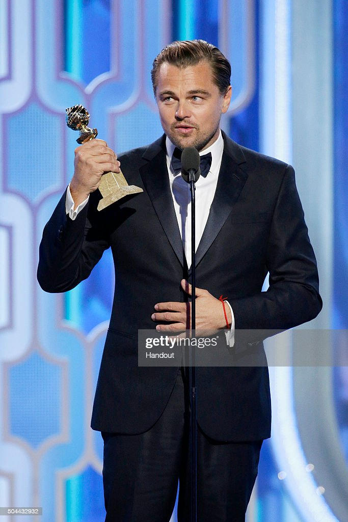 In this handout photo provided by NBCUniversal, Leonardo DiCaprio accepts the award for Best Actor - Motion Picture, Drama for 'The Revenant' during the 73rd Annual Golden Globe Awards at The Beverly Hilton Hotel on January 10, 2016 in Beverly Hills, California.