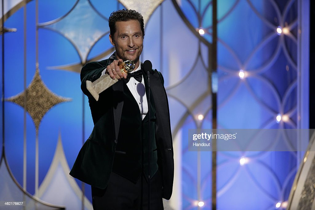 In this handout photo provided by NBCUniversal Matthew McConaughey accepts the award for Best Actor in a Motion Picture Drama for 'Dallas Buyers...