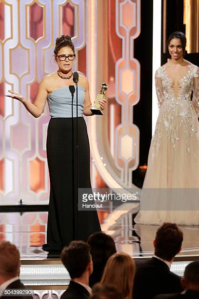 In this handout photo provided by NBCUniversal Maura Tierney accepts the award for Best Supporting Actress Series/Limited Series/TV Movie for 'The...