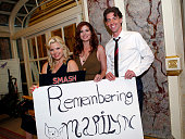 In this handout photo provided by NBCUniversal Media 'Smash' cast members Megan Hilty Debra Messing and Christian Borle commemorate the 50th...