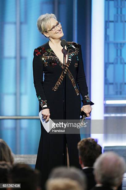 In this handout photo provided by NBCUniversal Meryl Streep accepts Cecil B DeMille Award during the 74th Annual Golden Globe Awards at The Beverly...