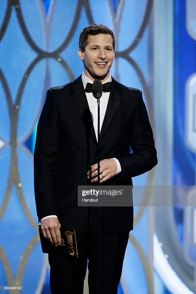 In this handout photo provided by NBCUniversal, Presenter Andy Samberg speaks onstage during the 73rd Annual Golden Globe Awards at The Beverly Hilton Hotel on January 10, 2016 in Beverly Hills, California.