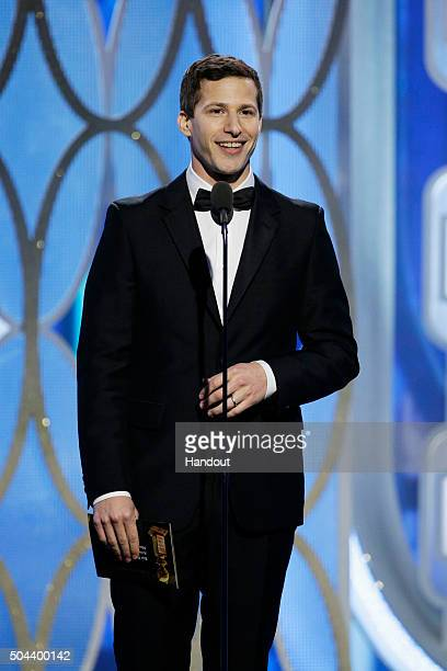 In this handout photo provided by NBCUniversal Presenter Andy Samberg speaks onstage during the 73rd Annual Golden Globe Awards at The Beverly Hilton...