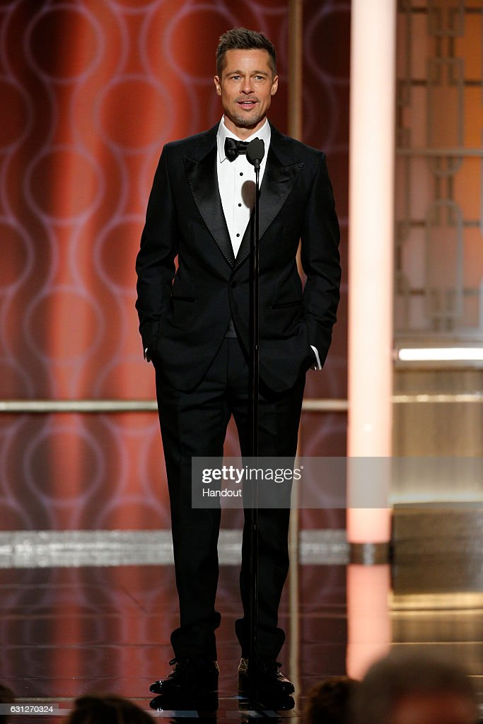 In this handout photo provided by NBCUniversal, presenter Brad Pitt onstage during the 74th Annual Golden Globe Awards at The Beverly Hilton Hotel on January 8, 2017 in Beverly Hills, California.