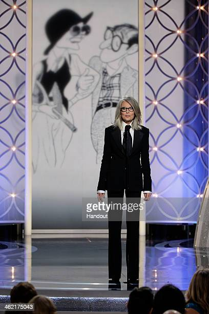 In this handout photo provided by NBCUniversal Presenter Diane Keaton speaks onstage during the 71st Annual Golden Globe Award at The Beverly Hilton...