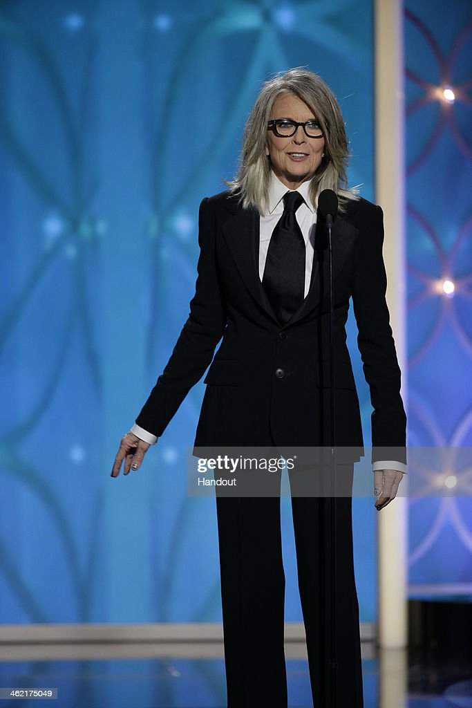 In this handout photo provided by NBCUniversal, Presenter <a gi-track='captionPersonalityLinkClicked' href=/galleries/search?phrase=Diane+Keaton&family=editorial&specificpeople=201554 ng-click='$event.stopPropagation()'>Diane Keaton</a> speaks onstage during the 71st Annual Golden Globe Award at The Beverly Hilton Hotel on January 12, 2014 in Beverly Hills, California.