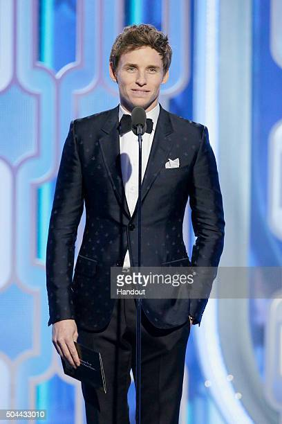 In this handout photo provided by NBCUniversal Presenter Eddie Redmayne speaks during the 73rd Annual Golden Globe Awards at The Beverly Hilton Hotel...