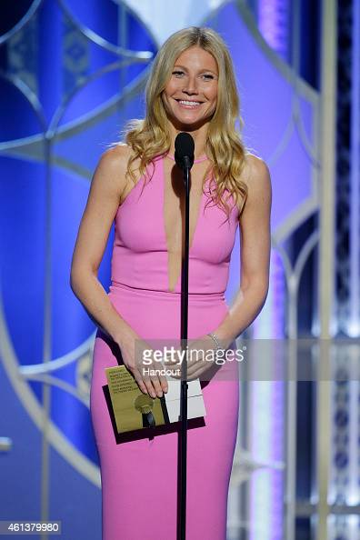 In this handout photo provided by NBCUniversal Presenter Gwyneth Paltrow speaks onstage during the 72nd Annual Golden Globe Awards at The Beverly...
