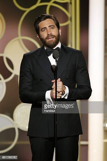 In this handout photo provided by NBCUniversal presenter Jake Gyllenhaall onstage during the 74th Annual Golden Globe Awards at The Beverly Hilton...