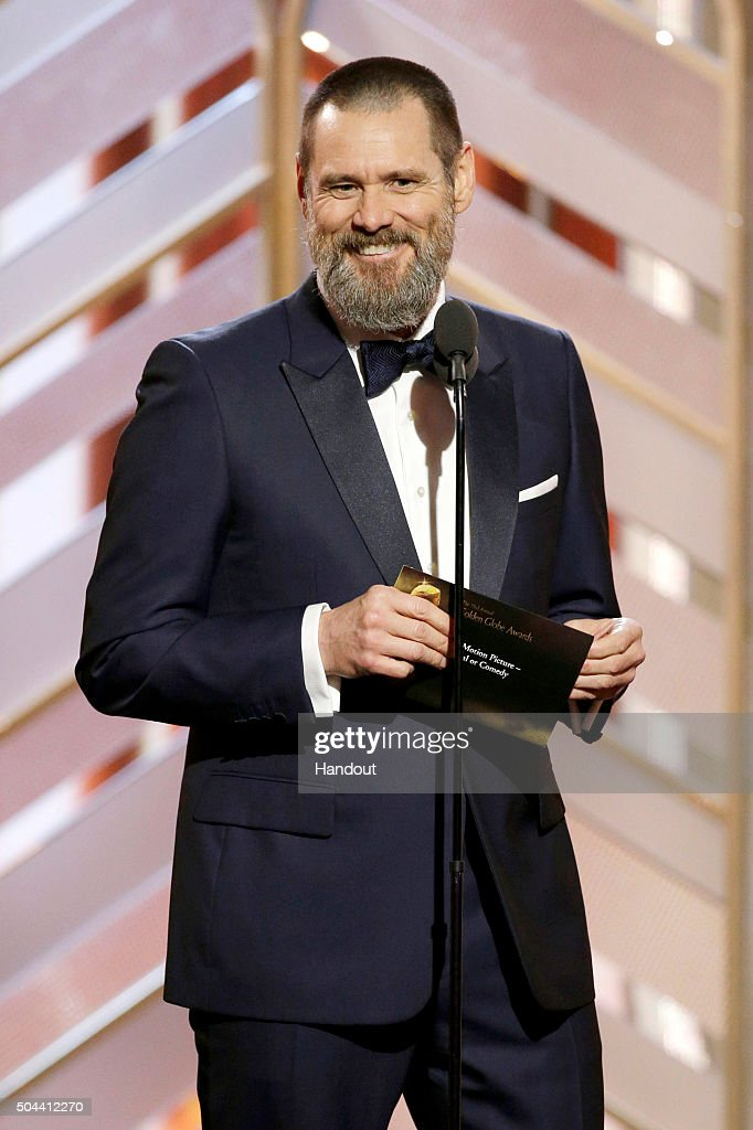 In this handout photo provided by NBCUniversal, Presenter Jim Carrey speaks onstage during the 73rd Annual Golden Globe Awards at The Beverly Hilton Hotel on January 10, 2016 in Beverly Hills, California.