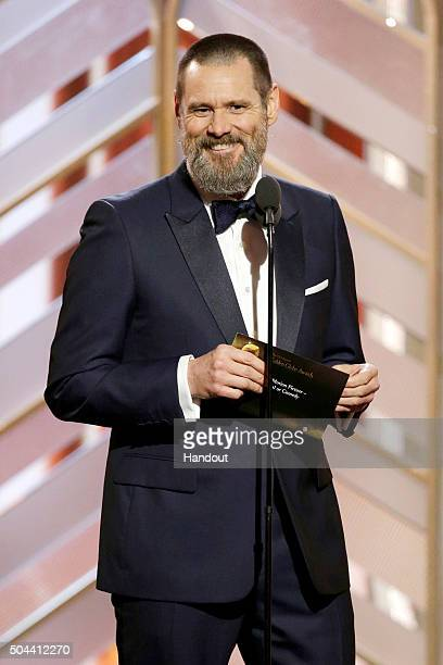 In this handout photo provided by NBCUniversal Presenter Jim Carrey speaks onstage during the 73rd Annual Golden Globe Awards at The Beverly Hilton...