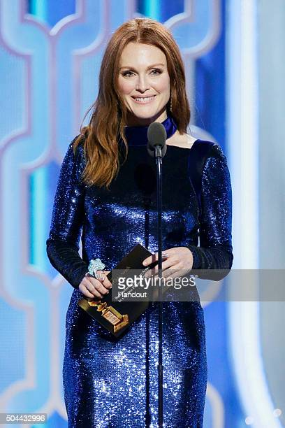 In this handout photo provided by NBCUniversal Presenter Julianne Moore speaks onstage during the 73rd Annual Golden Globe Awards at The Beverly...