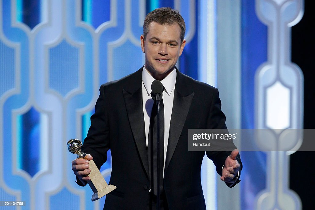 In this handout photo provided by NBCUniversal, Presenter <a gi-track='captionPersonalityLinkClicked' href=/galleries/search?phrase=Matt+Damon&family=editorial&specificpeople=202093 ng-click='$event.stopPropagation()'>Matt Damon</a> speaks onstage during the 73rd Annual Golden Globe Awards at The Beverly Hilton Hotel on January 10, 2016 in Beverly Hills, California.