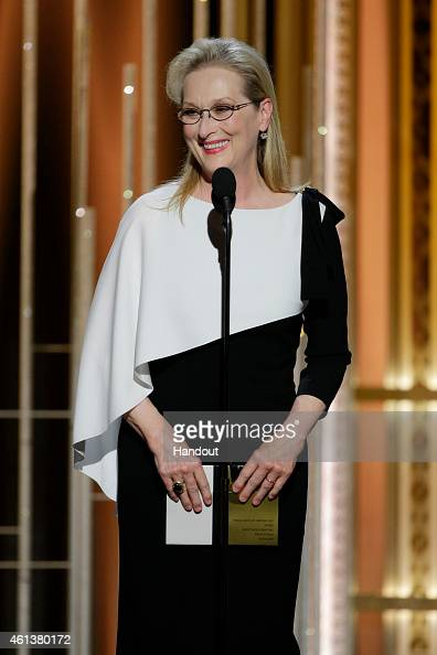 In this handout photo provided by NBCUniversal Presenter Meryl Streep speaks onstage during the 72nd Annual Golden Globe Awards at The Beverly Hilton...