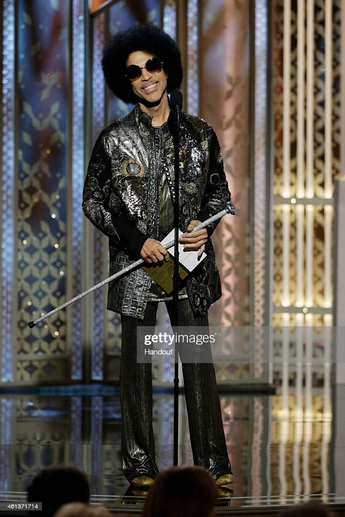 In this handout photo provided by NBCUniversal Presenter Prince speaks onstage during the 72nd Annual Golden Globe Awards at The Beverly Hilton Hotel...