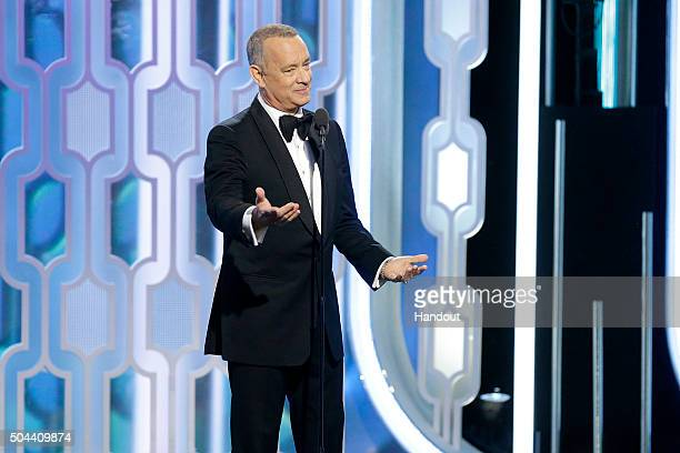 In this handout photo provided by NBCUniversal Presenter Tom Hanks speaks onstage during the 73rd Annual Golden Globe Awards at The Beverly Hilton...
