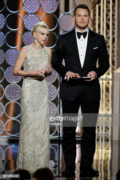 In this handout photo provided by NBCUniversal Presenters Anna Faris and Chris Pratt speak onstage during the 72nd Annual Golden Globe Awards at The...