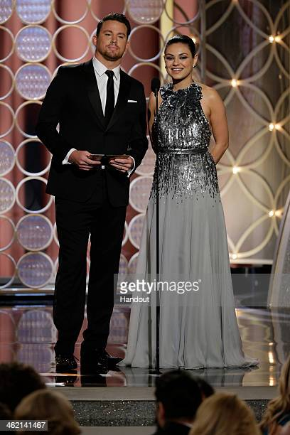 In this handout photo provided by NBCUniversal Presenters Channing Tatum and Mila Kunis speak onstage during the 71st Annual Golden Globe Award at...