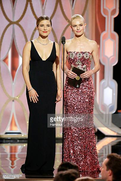 In this handout photo provided by NBCUniversal Presenters Sophia Bush and Kate Bosworth speak onstage during the 73rd Annual Golden Globe Awards at...