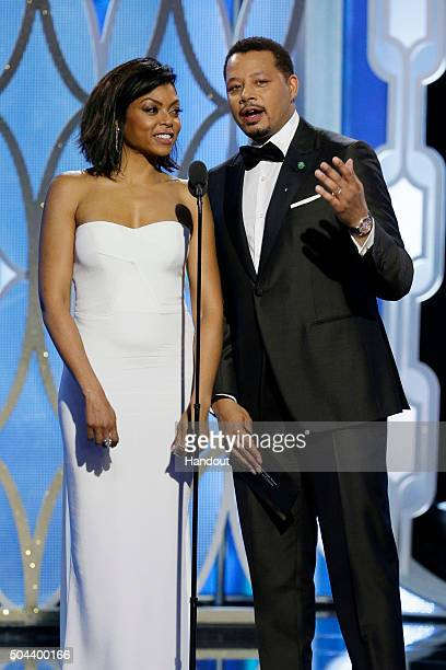 In this handout photo provided by NBCUniversal Presenters Taraji P Henson and Terrence Howard speak onstage during the 73rd Annual Golden Globe...
